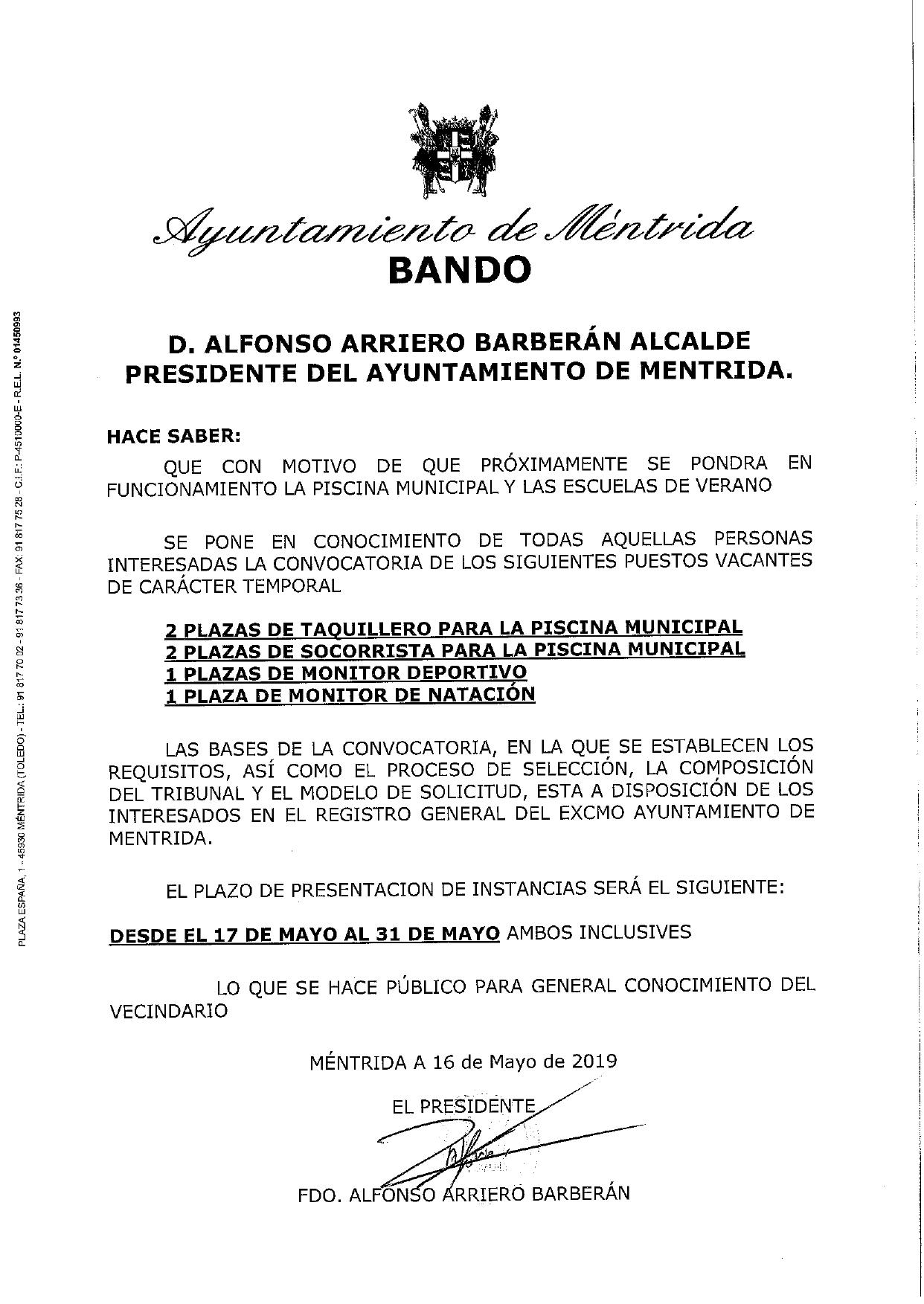 ea1635cd8d06 Convocatoria de varios puestos para la Piscina Municipal y Escuelas de  Verano 2019